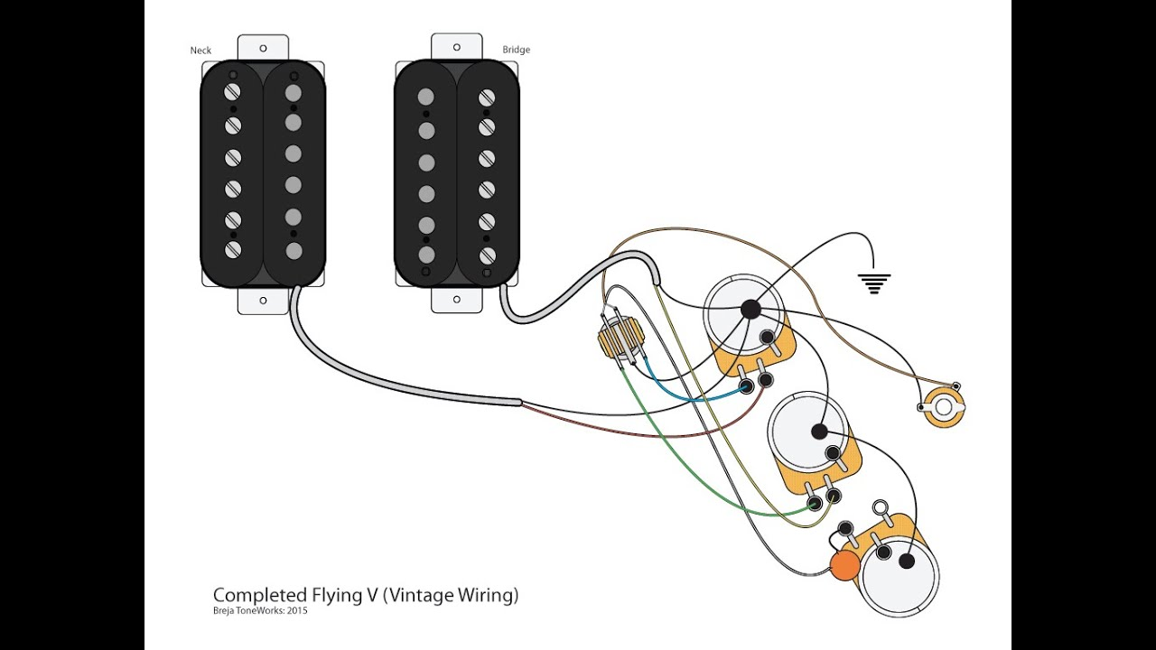 flying v w vintage wiring scheme youtube rh youtube com HH Wiring-Diagram Guitar Wiring Diagrams 2 Pickups