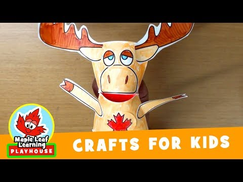 Moose Puppet Craft for Kids | Maple Leaf Learning Playhouse