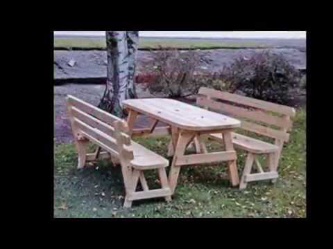 Mesas picnic de madera tratada para jard n youtube for Mesas de madera para jardin