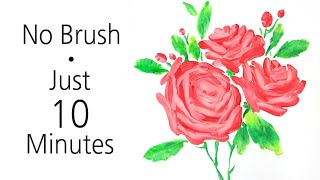 (135) Amazing drawing with a spoon & knife _ Pink rose bouquet _ Dried canvas _ Designer Gemma77