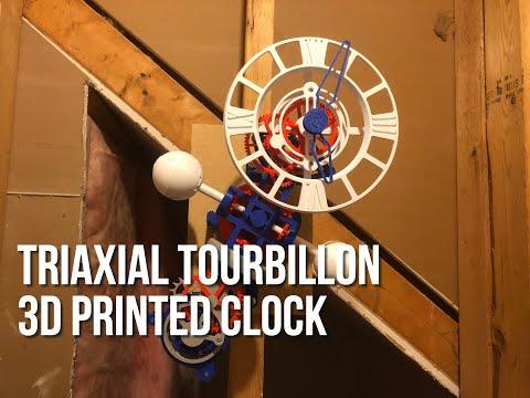 Triaxial Tourbillon 3D Printed Clock