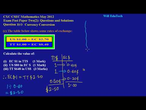 CSEC CXC Maths Past Paper 2 Question 1c May 2012 Exam Solutions (Answers)_ by Will EduTech