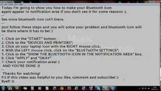 How to fix Bluetooth in windows 7:[bluetooth icon notification problem, can't find bluetooth]