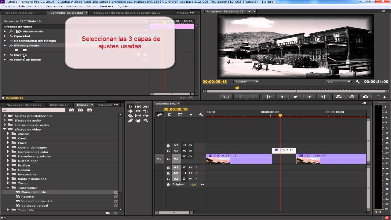 Adobe Premiere CC crear marco difuminado blanco y negro BIEN ...