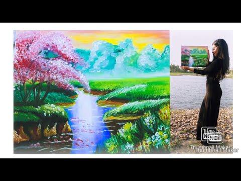 Easy beginner oil painting tutorial- Landscape – sunset رسم بالوان الزيت للمبتدئين