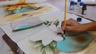 Aprenda a Pintar Vaso Azul com Flores Silvestres