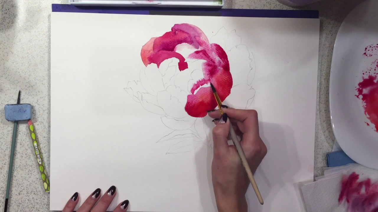 Watercolor painting tutorial flowers peony step by step for Video tutorial on watercolor painting