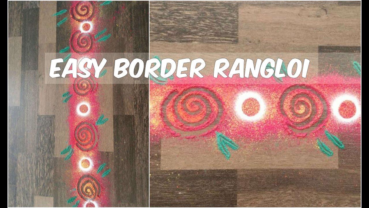 Easy border rangoli design simple rangoli for door for Door rangoli design images new