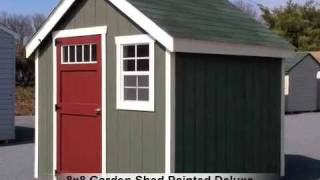 8x8 Garden Shed, Painted Deluxe Series