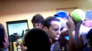Rafael Nadal shirtless signing autographs!