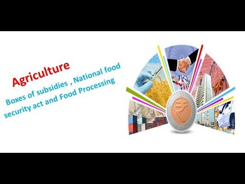 Agriculture : Boxes of subsidies , National food security Act and Food processing