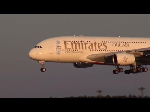 Emirates A380 landing at Narita Airport . EXPO 2020 DUBAI