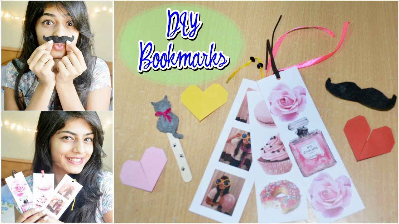 Diy easy bookmarks heart photostrip mustache cat for Diy bookmarks for guys
