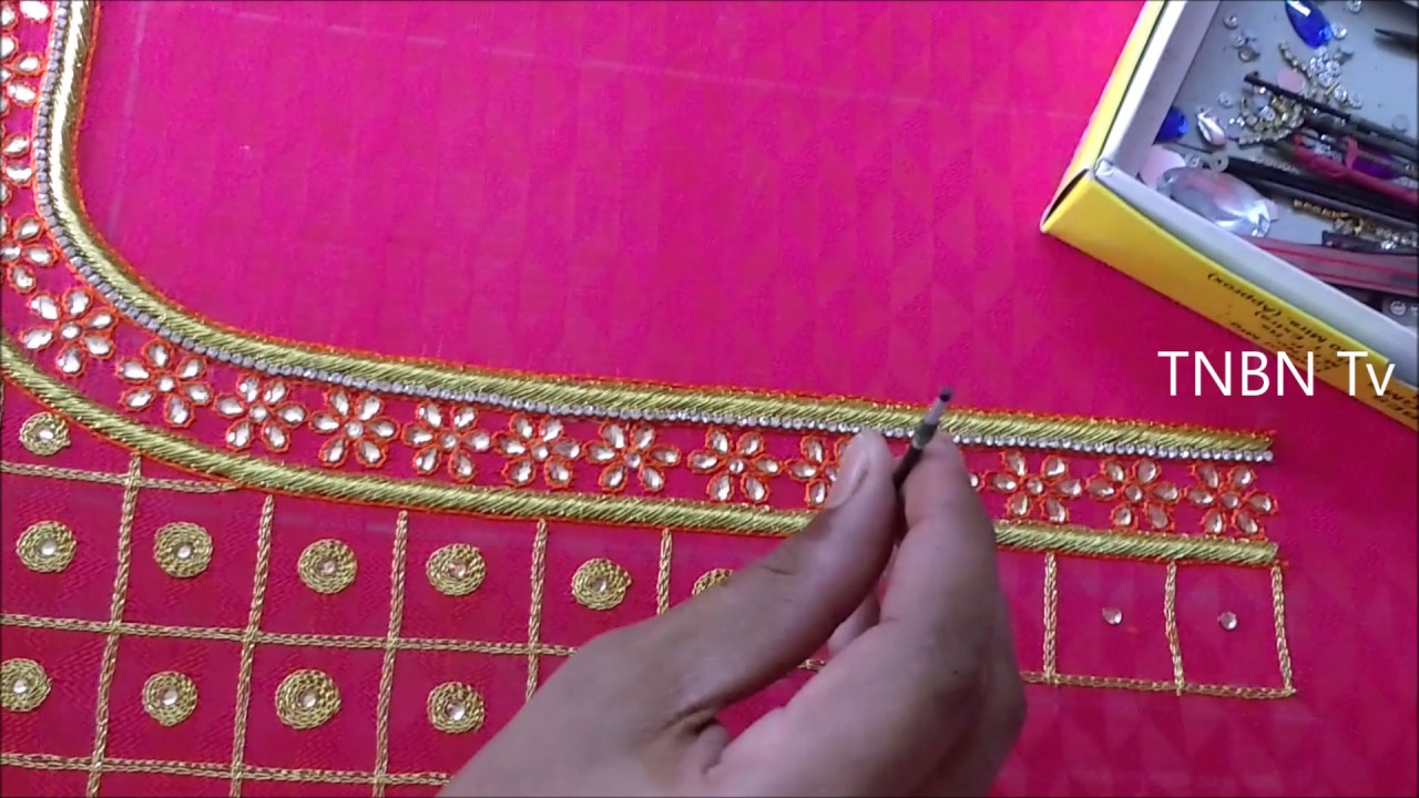 Simple maggam work blouse designs embroidery beginners