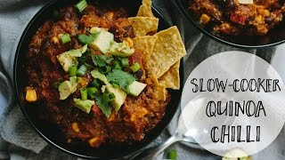 Simple Slow Cooker Quinoa Chilli - Easy vegan and healthy crockpot recipe
