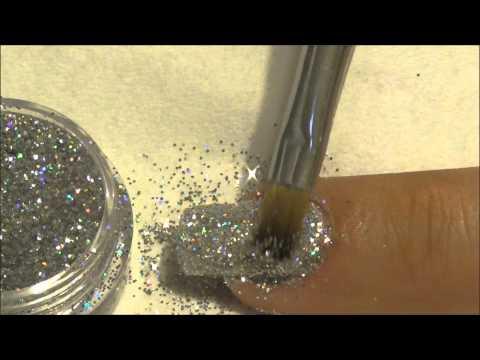 Gel Polish Glittery Silver Christmas Nail