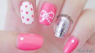 Рисунки на ногтях - розовые ногти -Дизайн ногтей точками - Mаникюр в домашних условиях