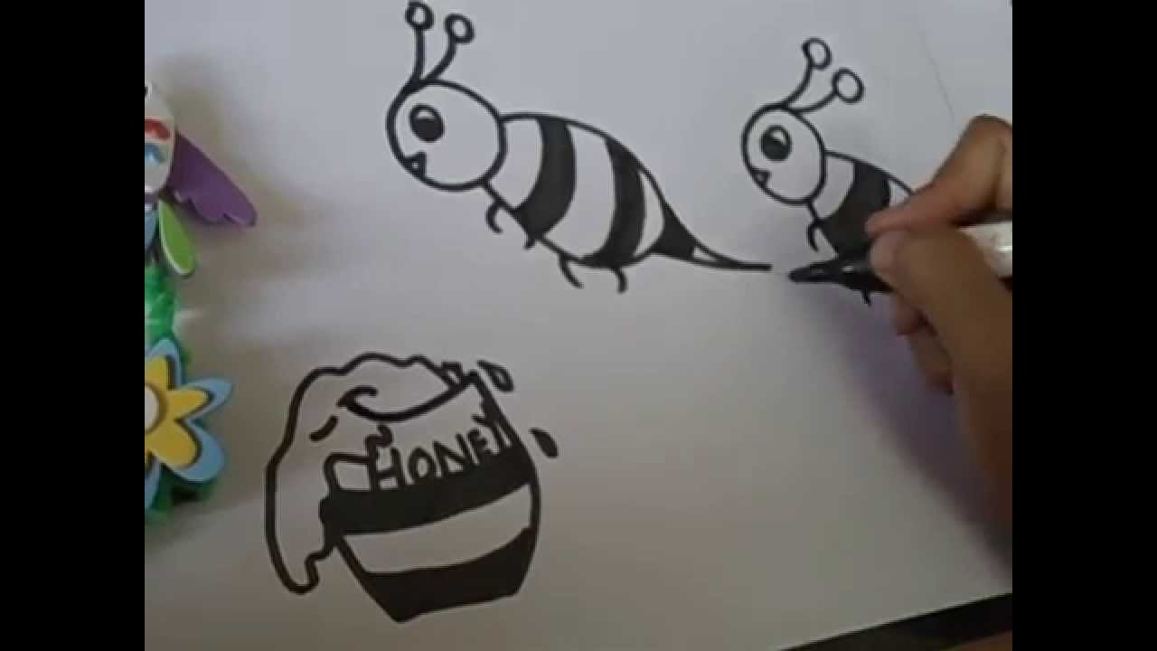Drawing For Kids Draw Honey Bee In Easy And Simple Steps Youtube