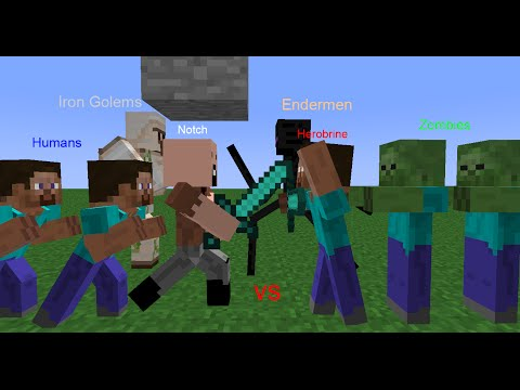Notch and Human Army vs Herobrine and Monster Army
