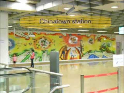 Singapore MRT metro train taking the new Downtown Line from Promenade to Chinatown 牛车水