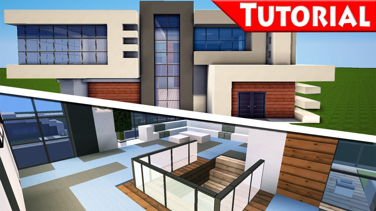 Minecraft easy modern house mansion tutorial 9 part for Minecraft house interior living room