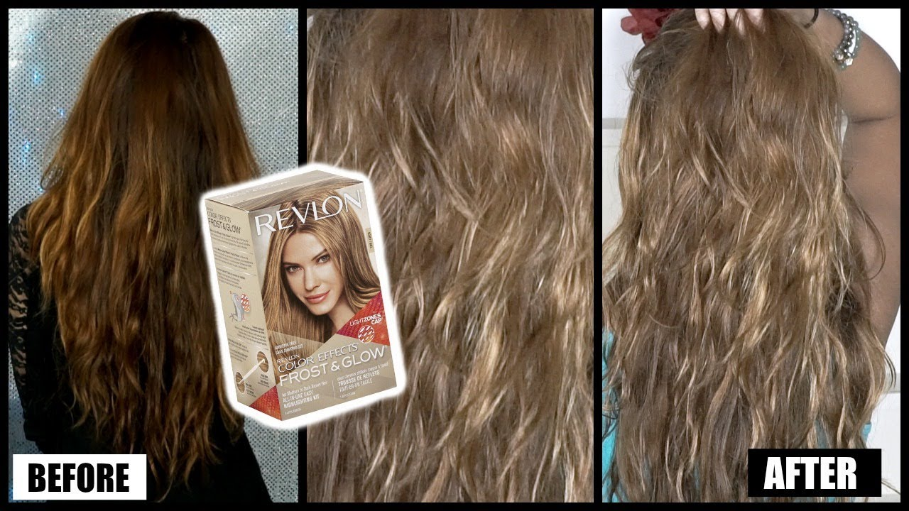 How I Lighten My Hair Dark To Light Revlon Frost Glow Honey Highlighting Kit Review Results