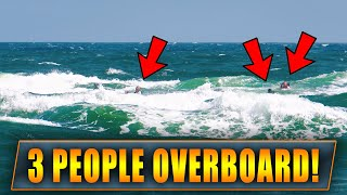 3 PEOPLE OVERBOARD SWALLOWED BY WAVES! | HAULOVER INLET BOATS | BOCA INLET