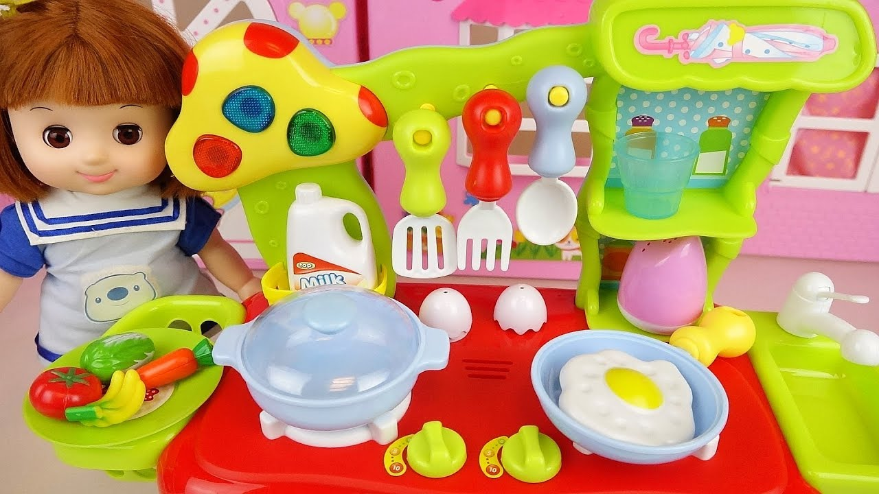 Milk Kitchen and baby doll toys play baby Doli story