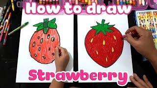 Dạy vẽ quả dâu tây ♥ How to draw a Strawberry ♥
