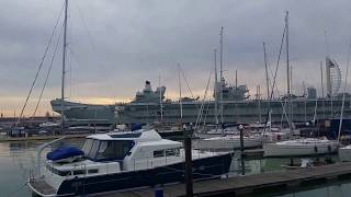 HMS Queen Elizabeth Warship arrives in Portsmouth.