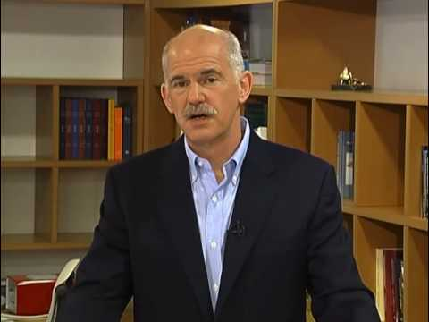 George Papandreou address the ECOSY conference.