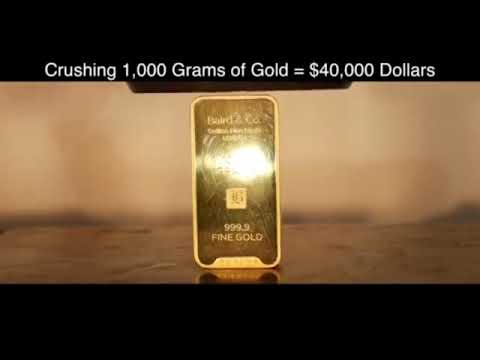 Gold bullion of 40.000$ dollar in the hydraulic press.That's what happens: