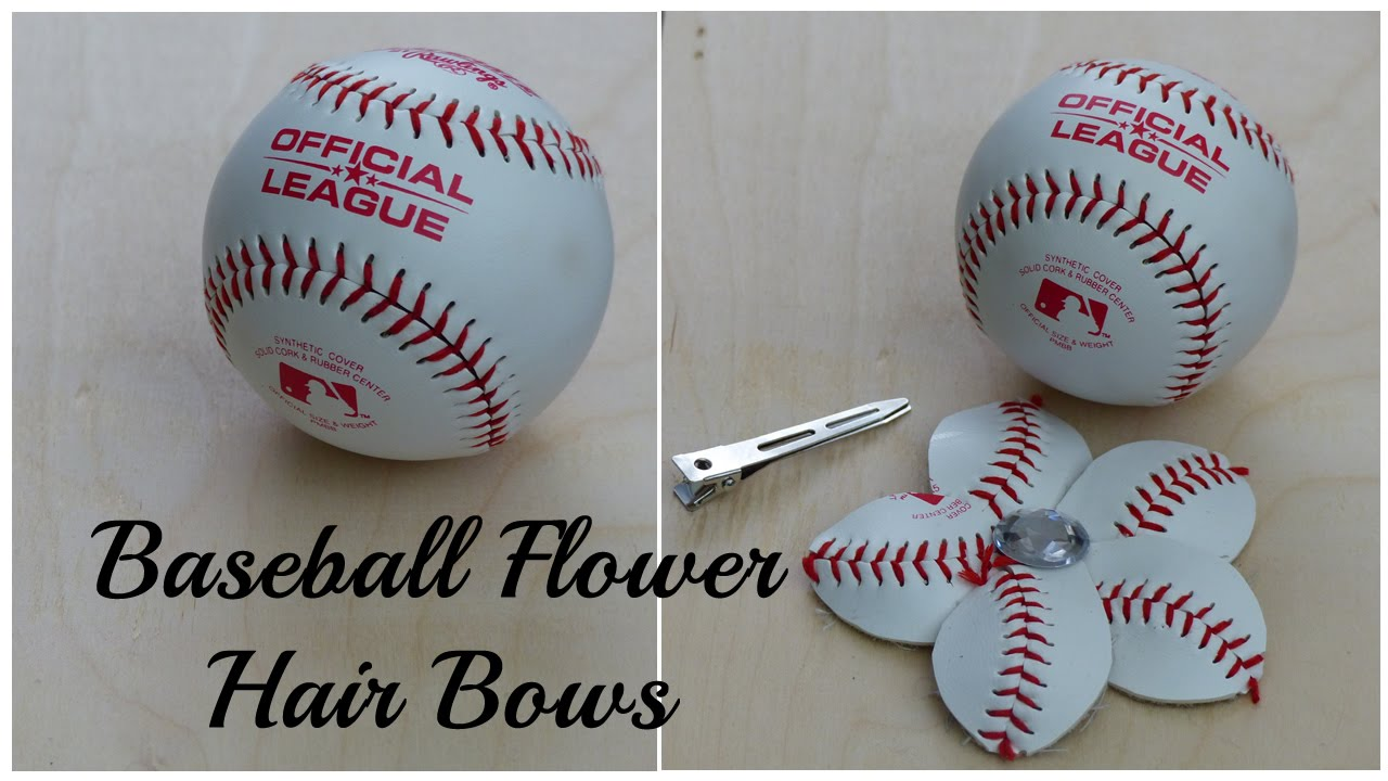 aa3e5d10ad154 DIY Crafts  How To Make A Baseball Flower Hair Bow - YouTube