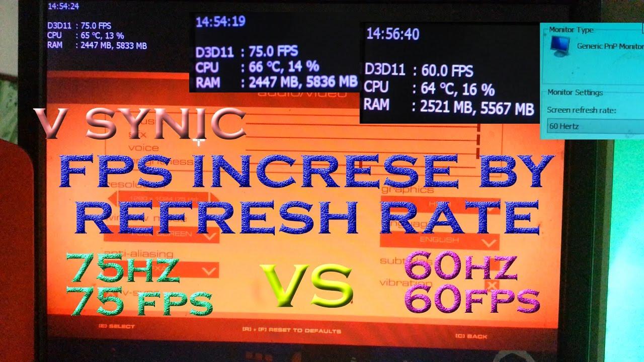 60hz vs 75hz refresh rates , fps increase in v synic (moniter overclocking)