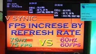60hz vs 75hz refresh rates fps increase in v synic moniter overclocking