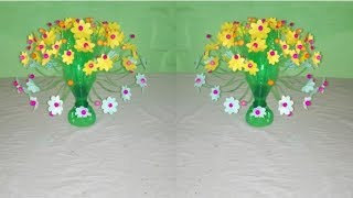 Beautiful flower / Empty plastic bottle vase making craft, Amazing Recycle flower 2018 new video