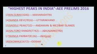 HIGHEST PEAKS INDIA-GEOGRAPHY--APPSC TSPSC GROUPS IES IAS SSC UPSC