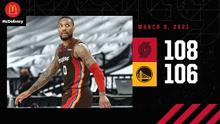 Download Trail Blazers 108, Warriors 106 | Game Highlights by McDelivery | March 3, 2021