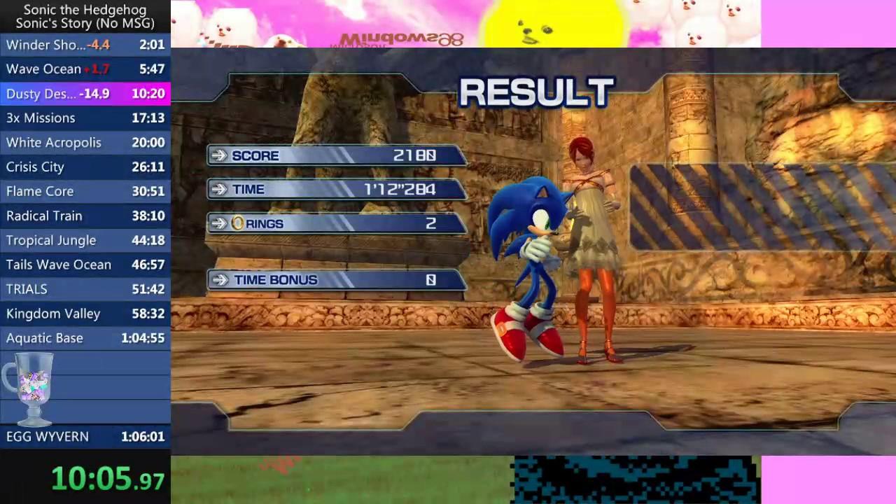 Sonic 06 Sonic's Story (No MSG) New PB (1:04:42