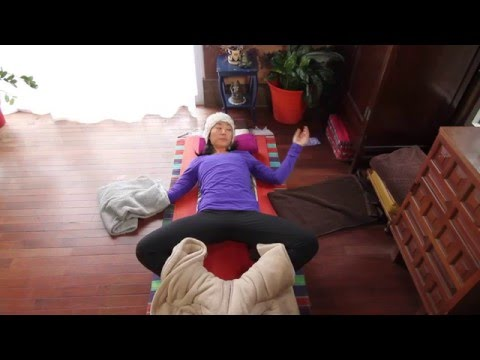 Restorative Yoga Supported Reclined Bound Angle aka Salamba Supta Baddha Konasana