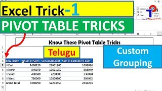 Pivot Table Custom Grouping Trick In Excel In Telugu || Excel Tutorials || Tech Prapancham