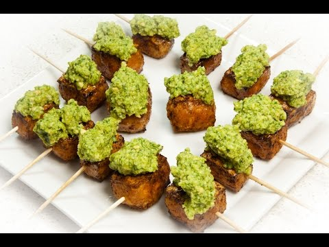 Roasted Tofu Bites with Pesto (Vegan & Low Salt!)