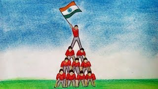 Republic Day Drawing - How To Draw Republic Day Scene of 26th January (India)