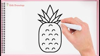 pineapple easy very draw drawing step