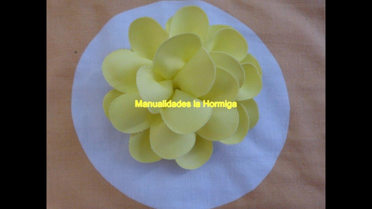 Como hacer una flor glamorosa de cinta how to make gros - Como hacer flores ...