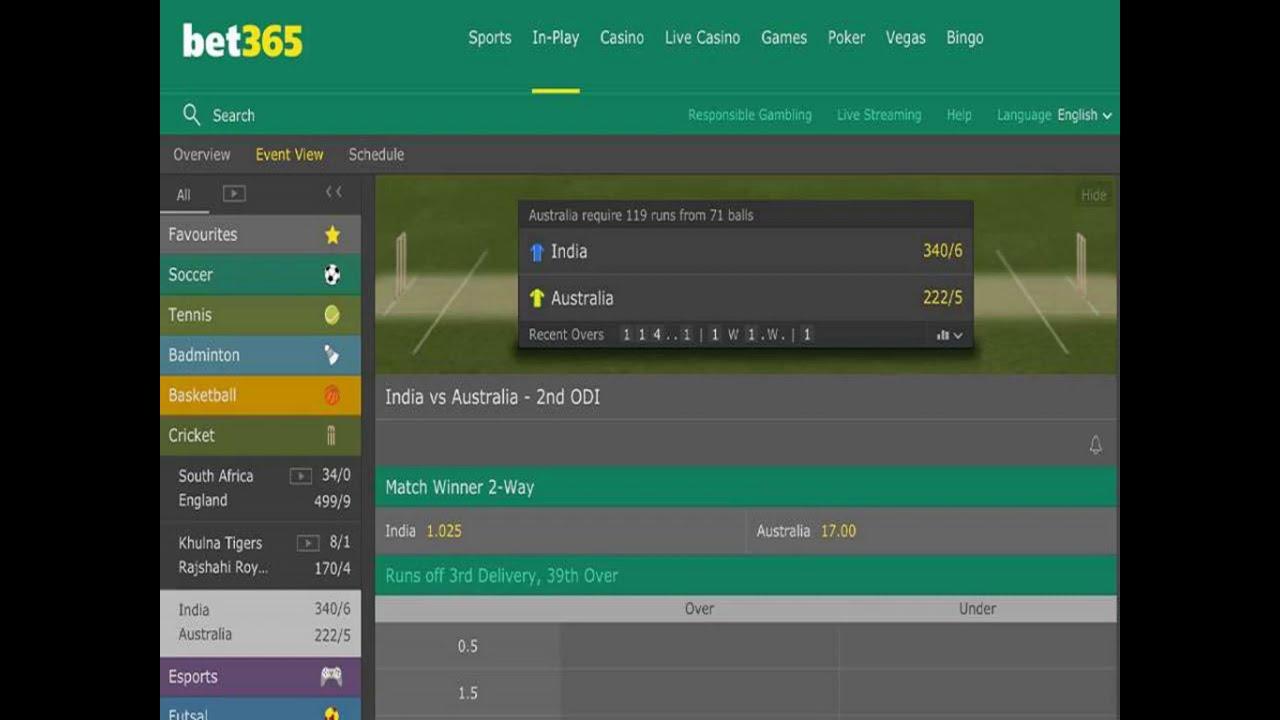 online cricket betting 365