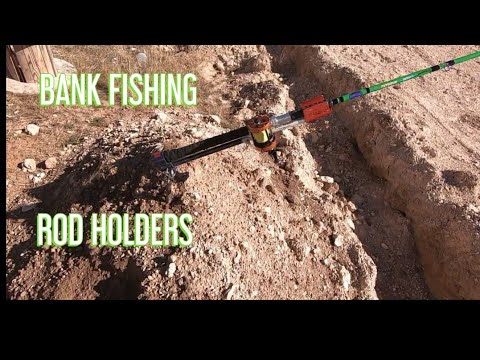BANK FISHING ROD HOLDERS (goofed W/ Audio For Fun) River Rodder Rod Holders.