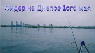 Ловля на фидер в черте Киева на Днепре 1ого мая. Любительская рыбалка на фидер .