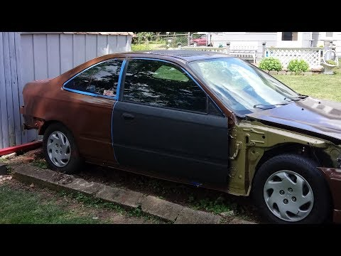 Rustoleum Gloss Leather Brown Paint job civic #Nesquik 90% done $50 paint job cheap