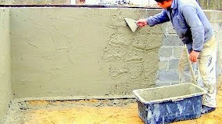 Building A House Step By Step. Full Hd. Day 11  Plastering Foundation Wall